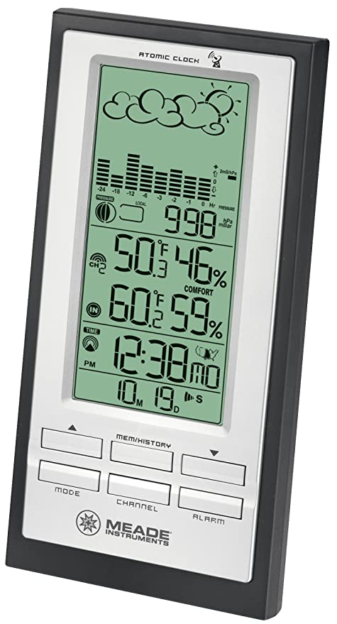 Meade Instruments TE688W Weather Forecaster with Barometric Pressure, Black