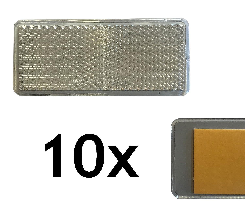 10 x rectá ngulo reflector blanco 90 x 40 mm lado Foco autoadhesiva con certificado E reflector Fahrzeugbau24