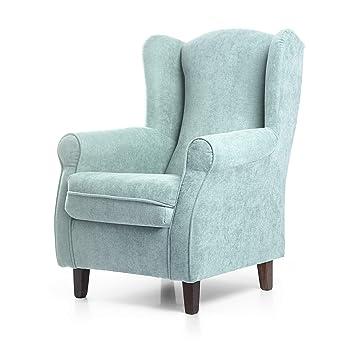 SUENOSZZZ - Sillon Relax, Sillon orejero para Lactancia Irene. Sillón tapiceria acualine Color Verde Agua. Butaca para Dormitorio, Salon o habitacion ...