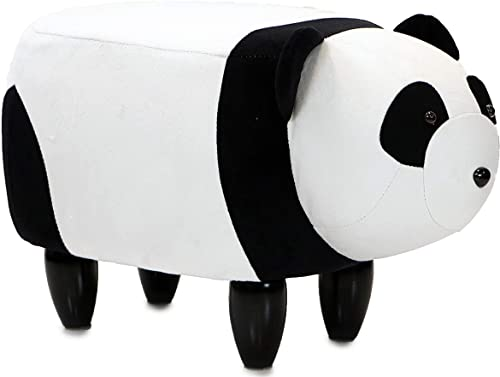 CRITTER SITTERS Black/White 14″ Seat Height Animal Panda Bear-Super Soft Plush-Durable Legs-Furniture - the best ottoman chair for the money