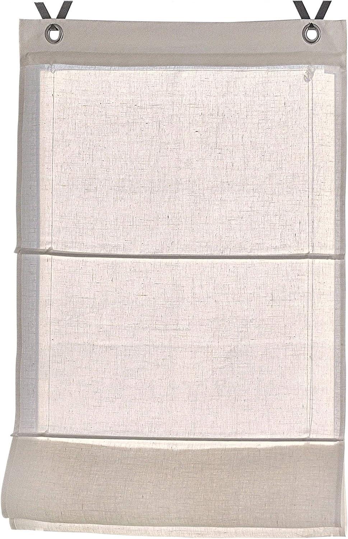 Rollos & More Estor Plegable 100% Lino Metis Blanco, Natural con Ojales y Ganchos, 45, 60, 80 y 100 * 140 cm (Tamano 80 * 140 cm, Crema)
