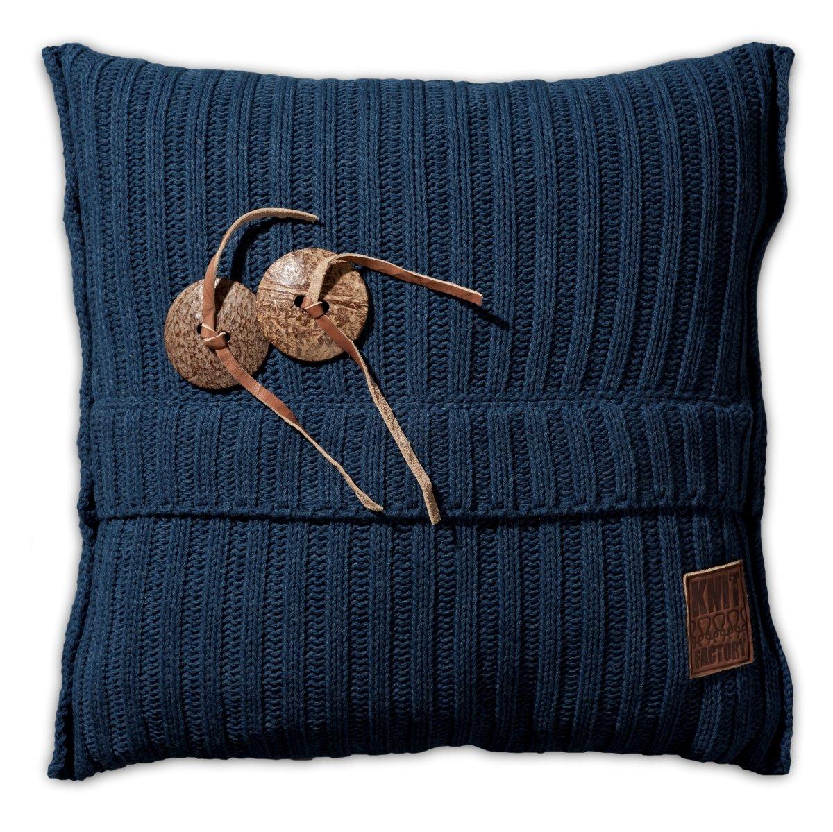 Knit Factory 101213 Dekokissen Strickkissen Aran   50 x 50 cm Jeans mit Füllung