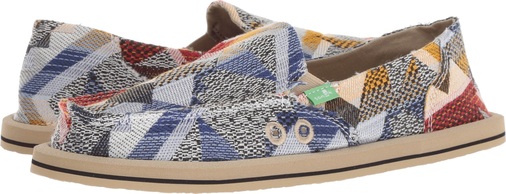Sanuk Women's Donna Geo Patch Loafer Flat, Blue/Multi, 08 M US