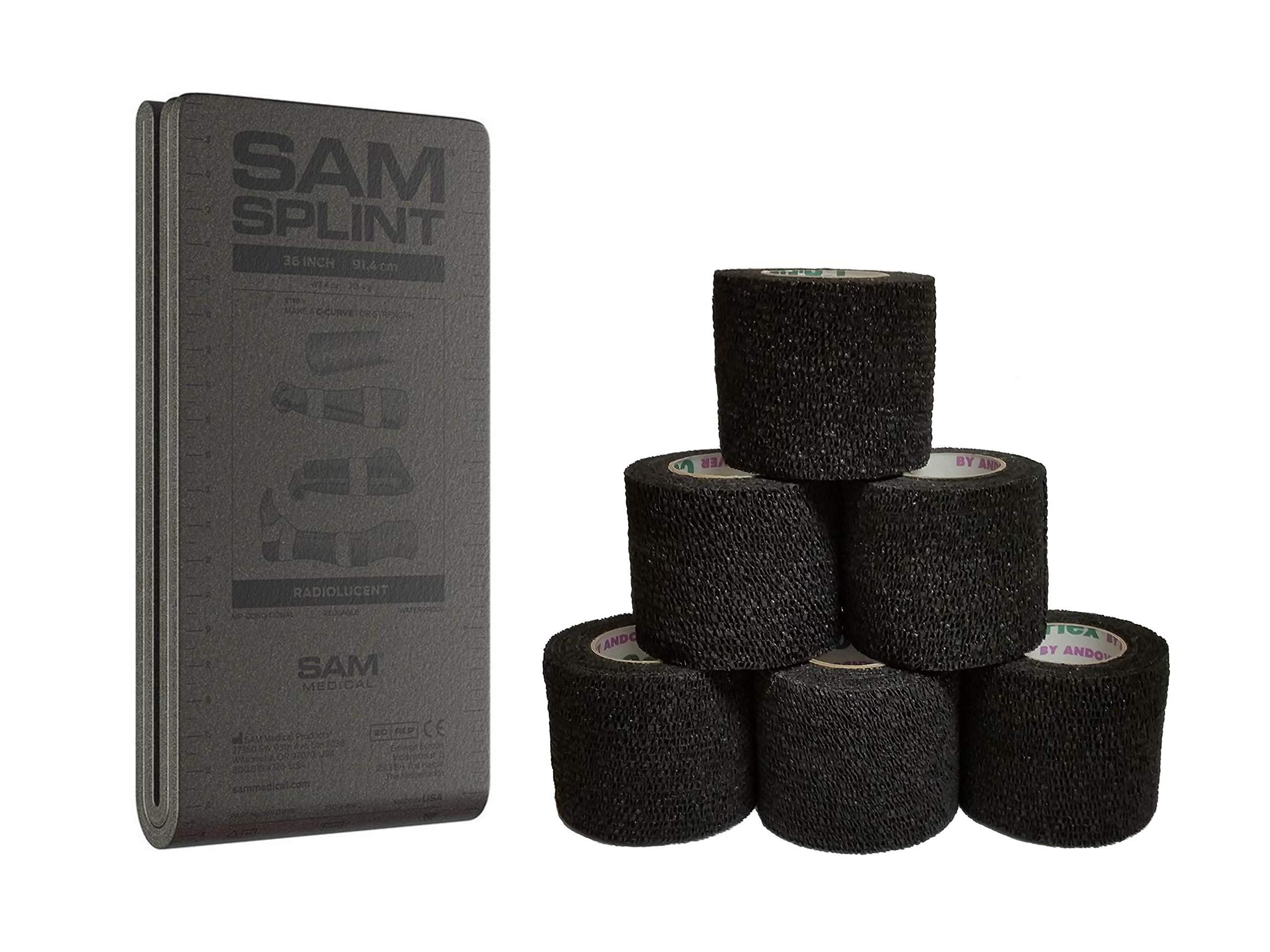 36'' SAM Splint Plus 2'' Cohesive Co-Flex Wrap Combo Kit (1 Gray Splint/2 Wraps, Black Wrap)