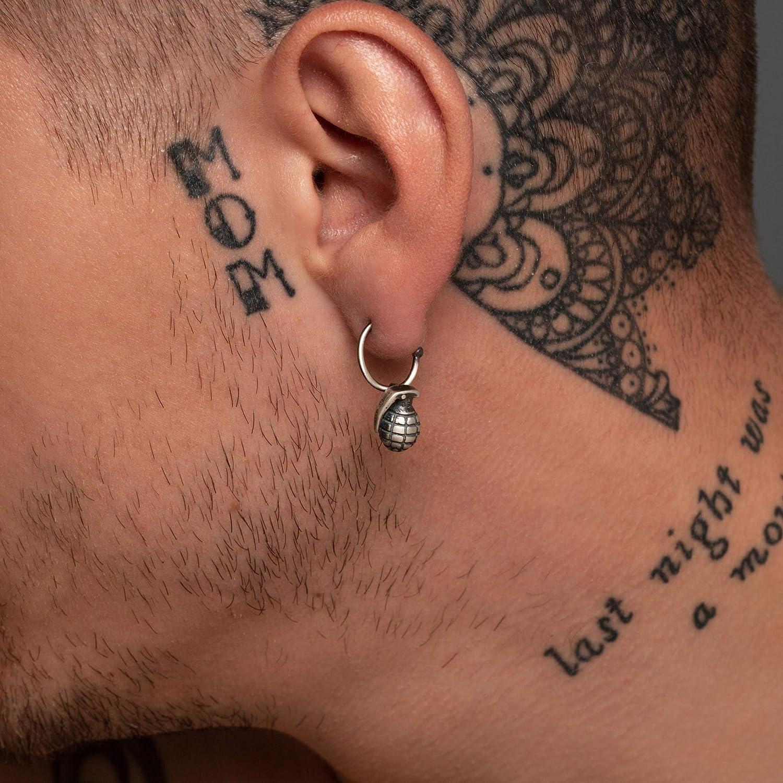 925 sterling silver earring for men hoop earring with charm men earring huggie hoop earring men jewelry gift for men gift guitar music small hoop