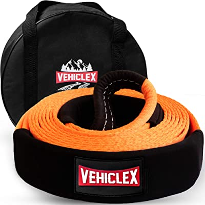 """Vehiclex Recovery Tow Strap 3"""" x 20' - 33000lbs - Heavy Duty Off-Road Snatch Strap, High Visibility Industrial Webbing, Reinforced Loops, Protective Sleeves - Truck Towing Accessory, Bonus Storage Bag: Automotive"""