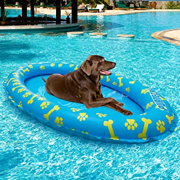 PUPTECK Dog Pool Float - Inflatable Pet Swimming Pool Toy Raft - Blue