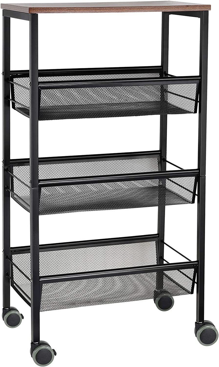 NEX Rustic Kitchen Cart on Wheels, 3-Tier Wire Storage Cart, Wood Top and Metal Frame, Black