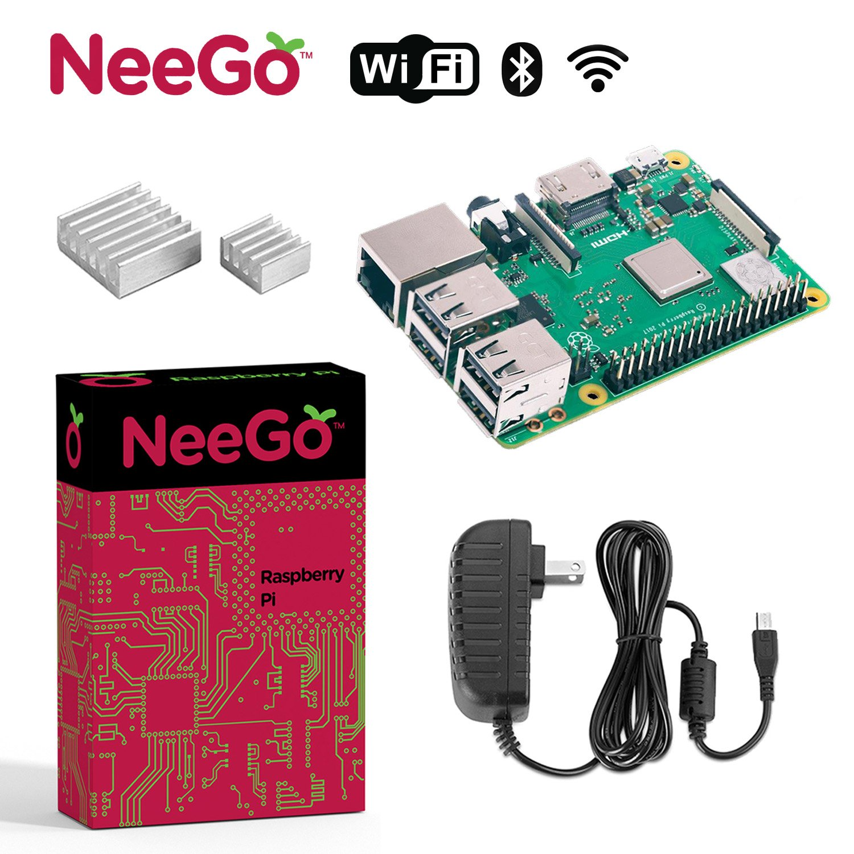NeeGo Raspberry Pi 3 B+ (B Plus) Starter Kit – Pi 3 Model B Barebones Computer Motherboard with 64bit Quad Core CPU & 1GB RAM, 2.5A Power Supply & Heatsink 2-Pack by NeeGo (Image #1)