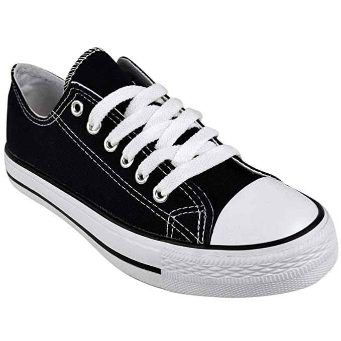 f73c7099d4 LADIES WOMENS CANVAS LACE UP PLIMSOLL FLAT GYM SHOES SNEAKERS TRAINER PUMPS  SIZE  Amazon.co.uk  Clothing