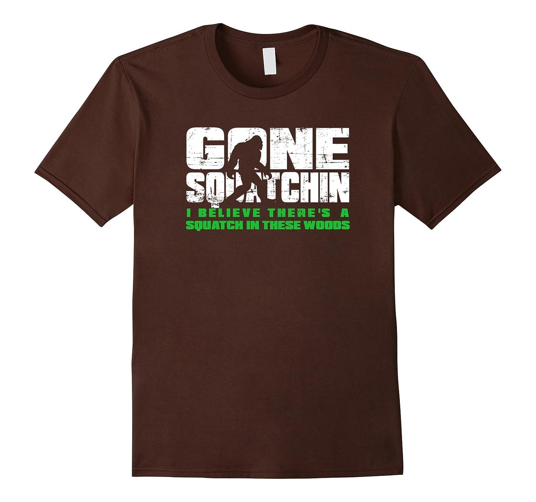Funny Bigfoot T Shirt - Gone Squatchin Tee - White Ink-TJ