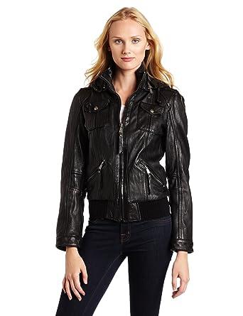 c3d738e835e9 Michael Michael Kors Women's Hooded Leather Jacket at Amazon Women's Coats  Shop