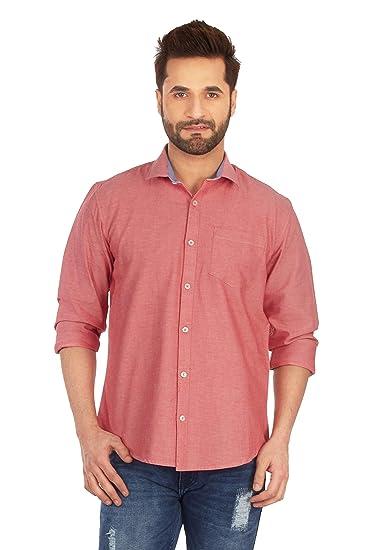 3d8b8973174b BERGAMO Men's Cotton Casual Shirt - Oxford Chambray - Regular Fit - Full Sleeves  Shirt (