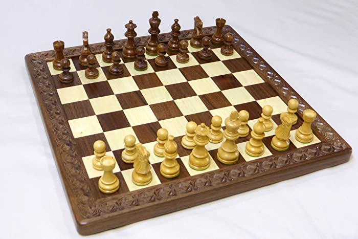 Handmade Walnut And Maple Chess Board With Wooden Chess Pieces