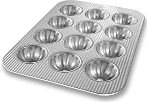 USA Pan Bakeware Mini Fluted Cupcake Pan, 12 Well, Nonstick & Quick Release Coating, Made in the USA from Aluminized Steel