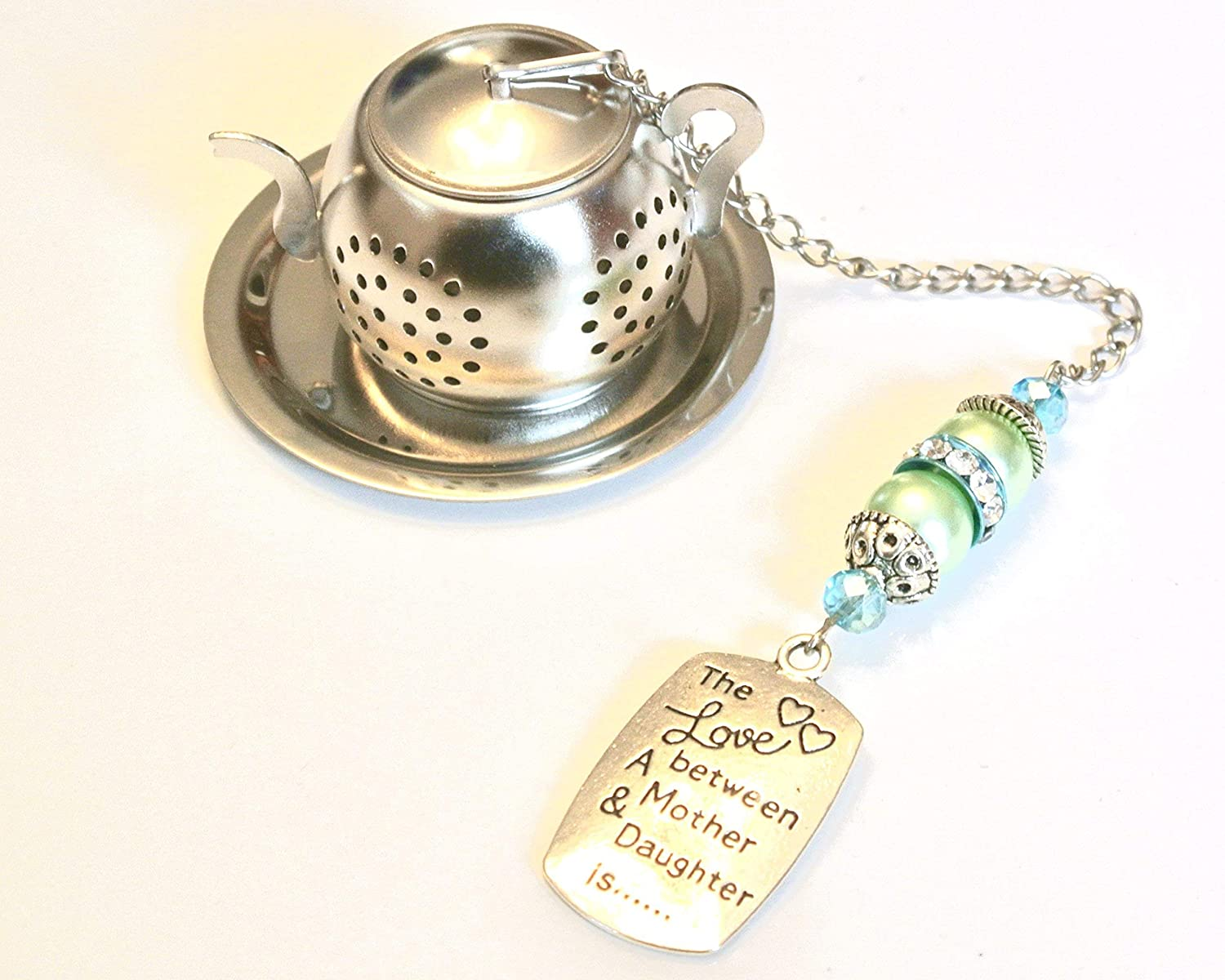 Mother Daughter Tea Infuser with Green and Blue Beads