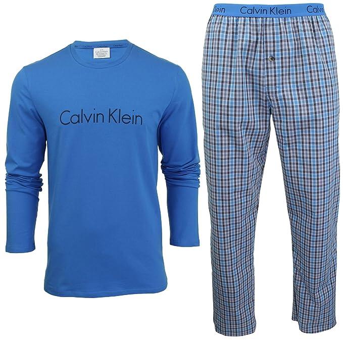 Pijamas De Manga Larga De Calvin Klein En Una Bolsa De Regalo Azul/check Pequeño