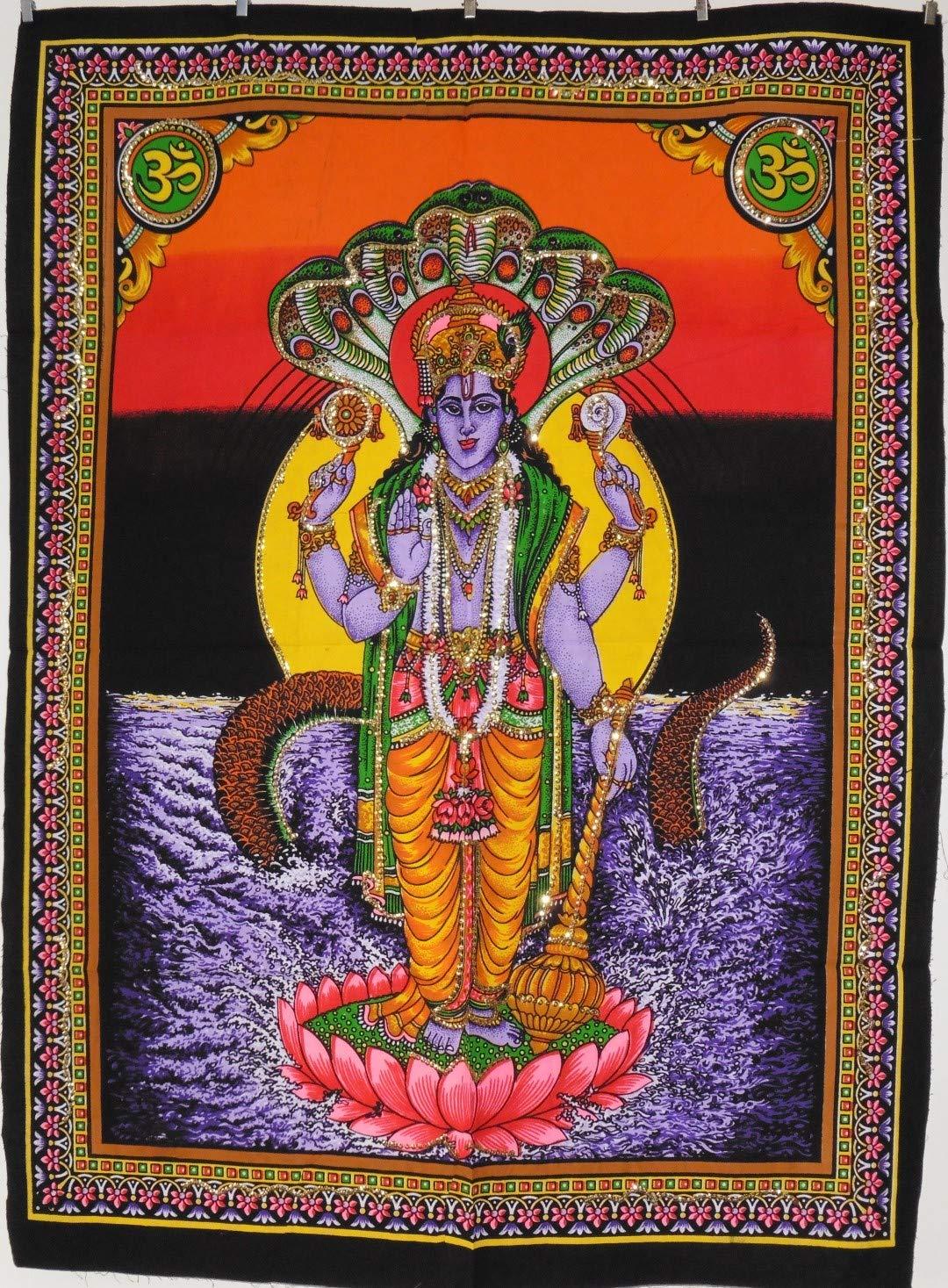 Grande indien hindou Lord Vishnou écran Impression Coton Décoration murale à suspendre 105cm x 79cm
