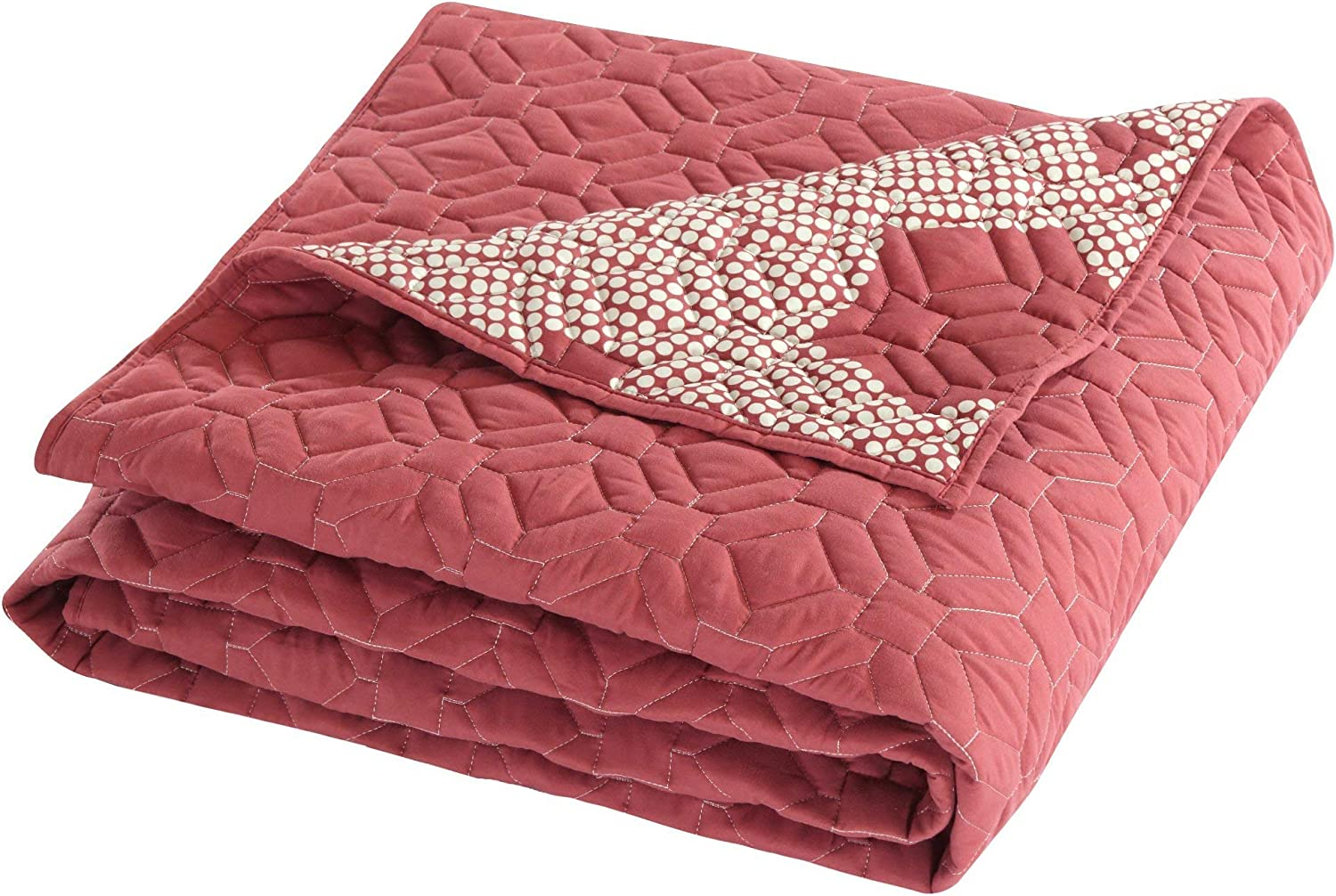 Chic Home 5 Piece Zoe Hexagon Embroidered Reversible Printed Backside Quilt Set, King, Brick