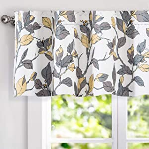 "DriftAway Ryan Sketch Flower Floral Lined Thermal Insulated Energy Saving Window Curtain Valance for Living Room Bedroom Kitchen, 2 Layer, Rod Pocket, 52""x18""+2""Header (Yellow and Gray)"