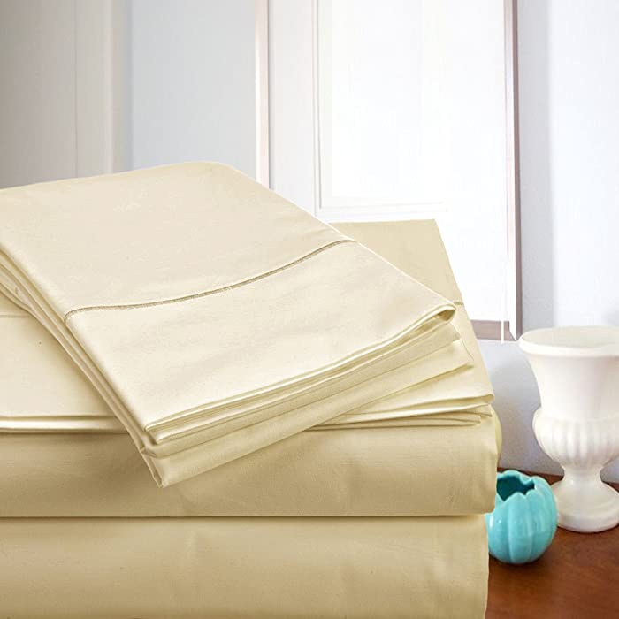 ADDY HOME FASHIONS MEGA Sale Today! Luxury Sheets On Amazon Luxury 800 Thread Count 100% Egyptian Cotton Ultra Soft Sheet Set, King - Ivory