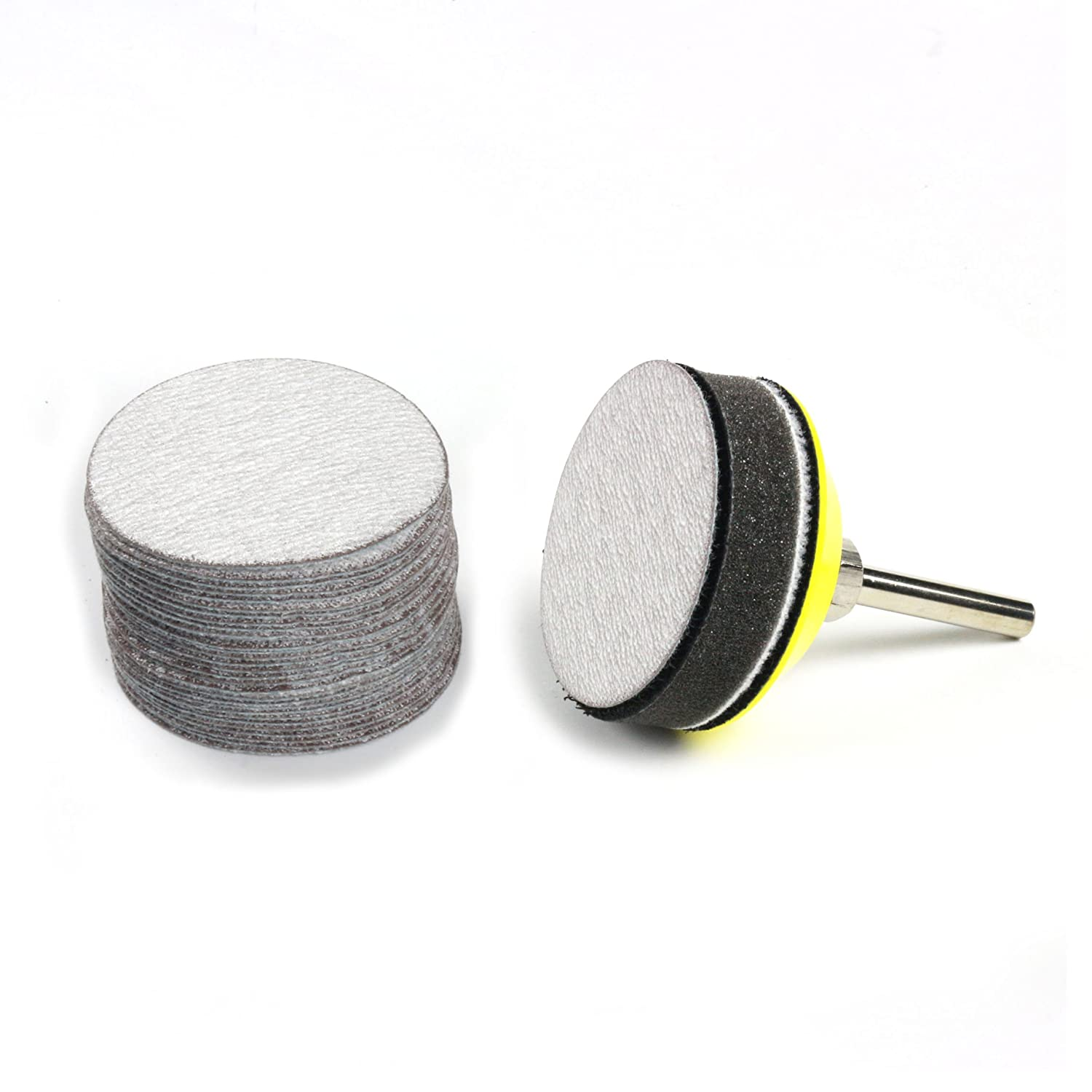 30-Pack Soft Sponge Buffering Pad for DIY Woodworking 2-Inch 5000 Grit Aluminum Oxide Wet//Dry Hook and Loop Sanding Discs with a 6mm Shank Backing Pad