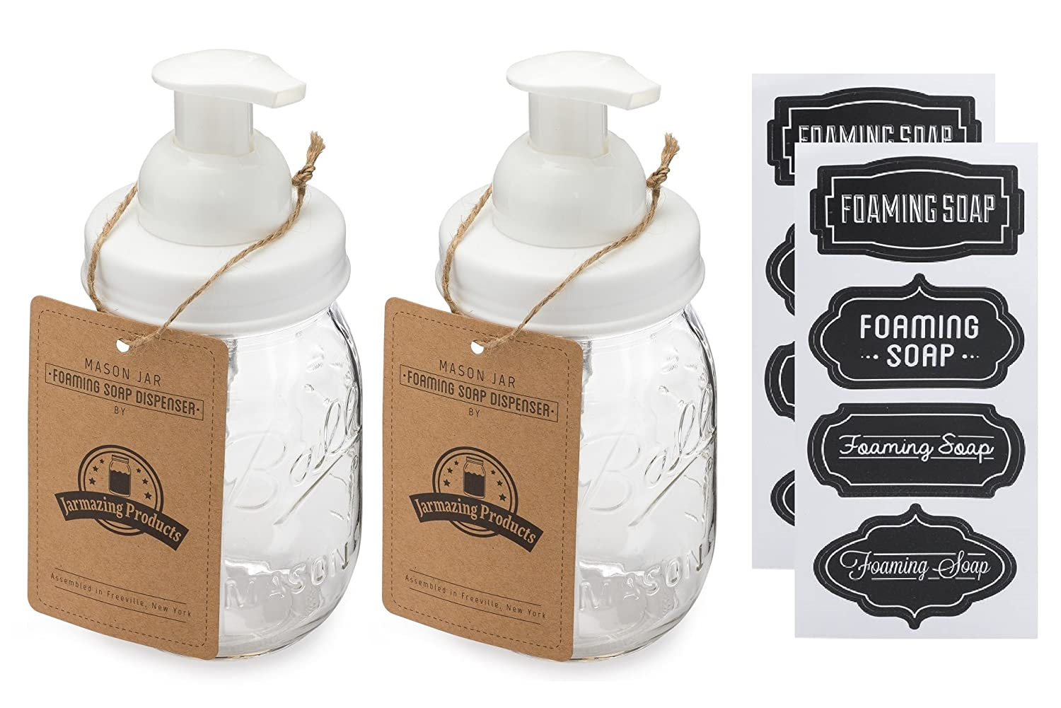 With 16 Ounce Ball Mason Jar Jarmazing Products Mason Jar Foaming Soap Dispenser Two Pack! White