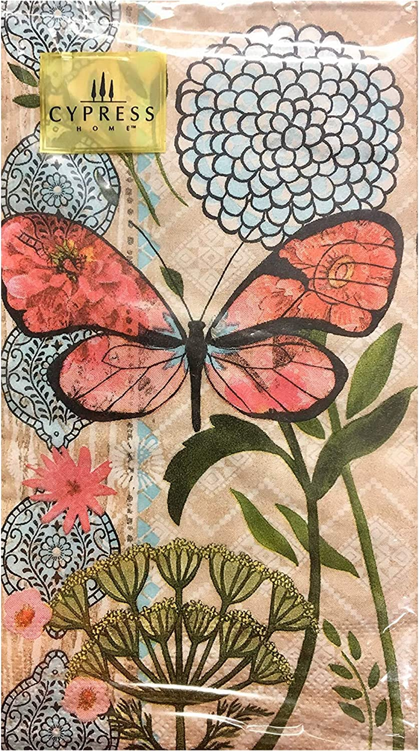 Cypress Home Hot Pink Butterfly Guest Towels Buffet Paper Napkins, 32 ct
