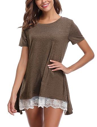 8f6fefc20af5c Tee Shirt Longue Femme Tunique Blouse Robe Ample Trapeze Chemise Femme T  Shirt Manches Courtes Long