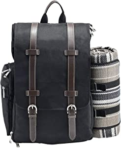 Picnic Backpack for 2 | Picnic Basket | Stylish All-in-One Portable Picnic Bag with Complete Cutlery Set, Stainless Steel S/P Shakers | Picnic Blanket Waterproof Extra Large| Cooler Bag for Camping