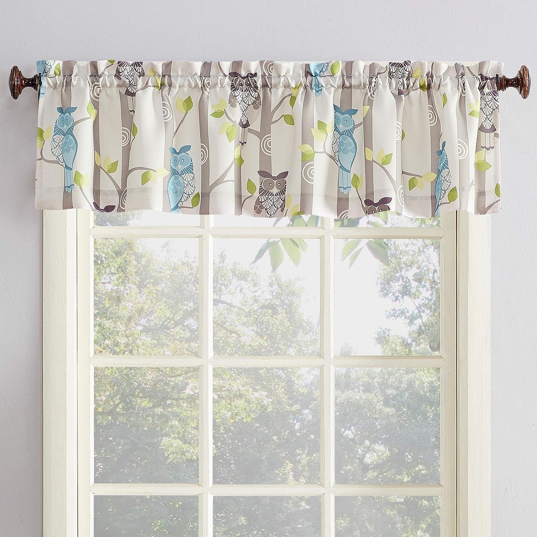 Amazon Com No 918 45083 Hoot Owl Print Kitchen Curtain Valance 56 X 14 Mocha Brown Home