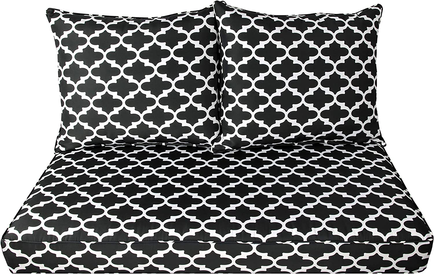 BOSSIMA Patio Furniture Cushions Comfort Deep Seat Loveseat Cushion Indoor Outdoor Seating Cushions (Black White Flower)