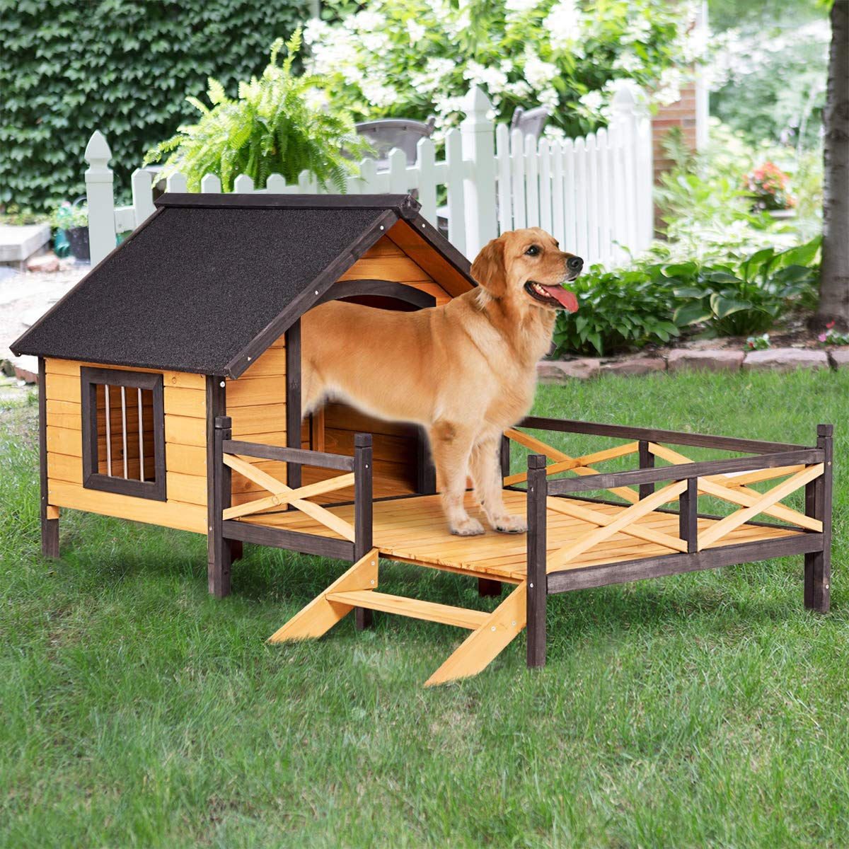 Tangkula Wood Dog House, Cabin Style Large Elevated Weather Waterproof Outdoor Pet Dog House, Lodge with Porch, Spacious Deck for Sunny Nap, Wooden Pet Dog House by Tangkula (Image #3)