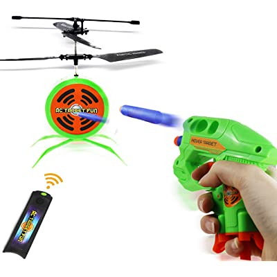 Haktoys HAK207 RC Flying Target Shooting Game | Ultimate Radio Control Gun Shooting Fun | Excellent Accessory for Nerf Guns | Gift and Toy for Kids, Teens, and Adults: Toys & Games