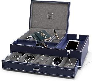 HOUNDSBAY Admiral Big Dresser Valet Box & Mens Jewelry Box Organizer with Large Smartphone Charging Station (Dark Blue - Limited Edition)