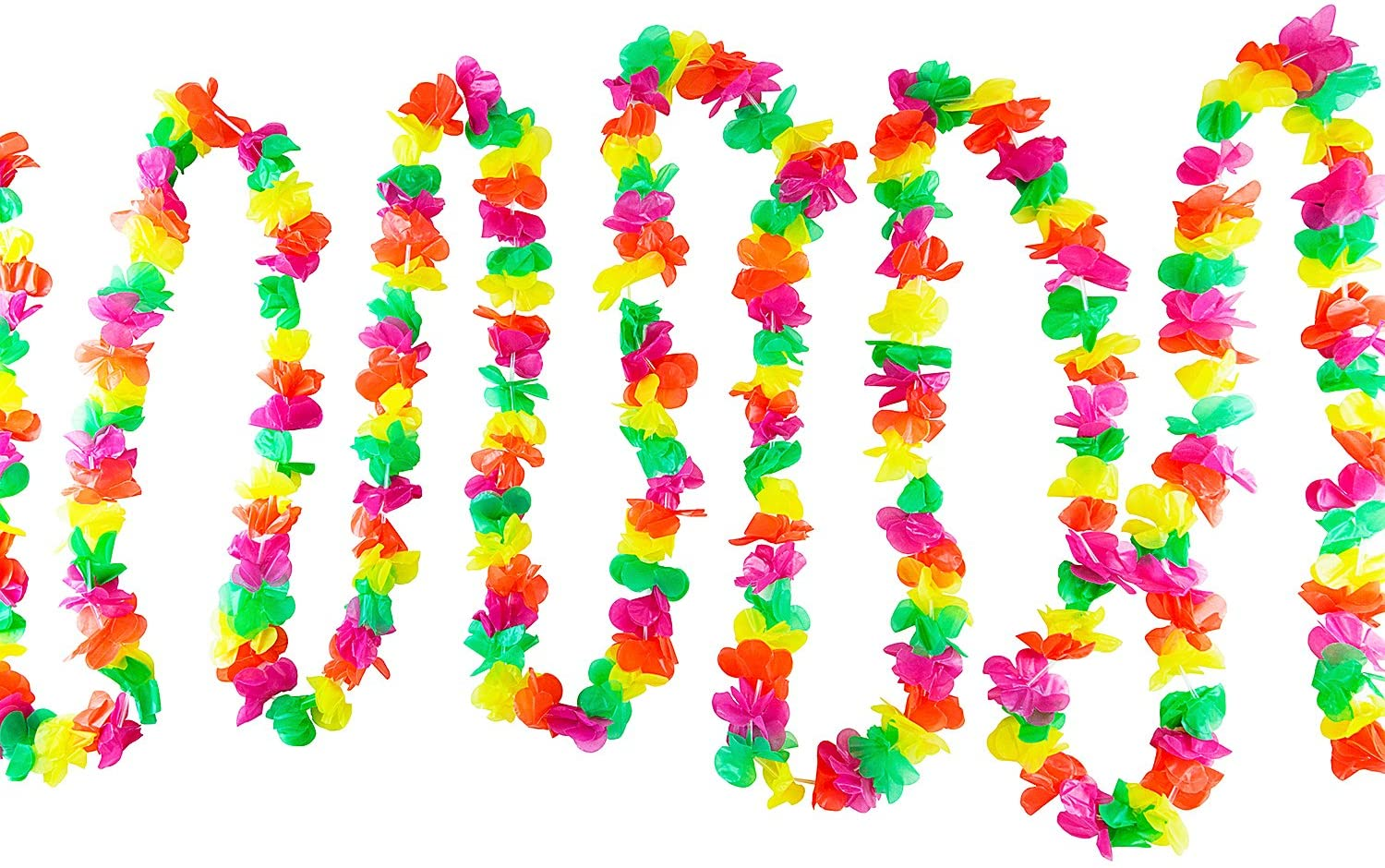100 Foot Long Tropical Multicolored Plastic Garland Flower Hula Leis Hawaiian Island Leaves Banner for Party Decorations, Birthdays, Event Supplies, Festivals, Children & Adults