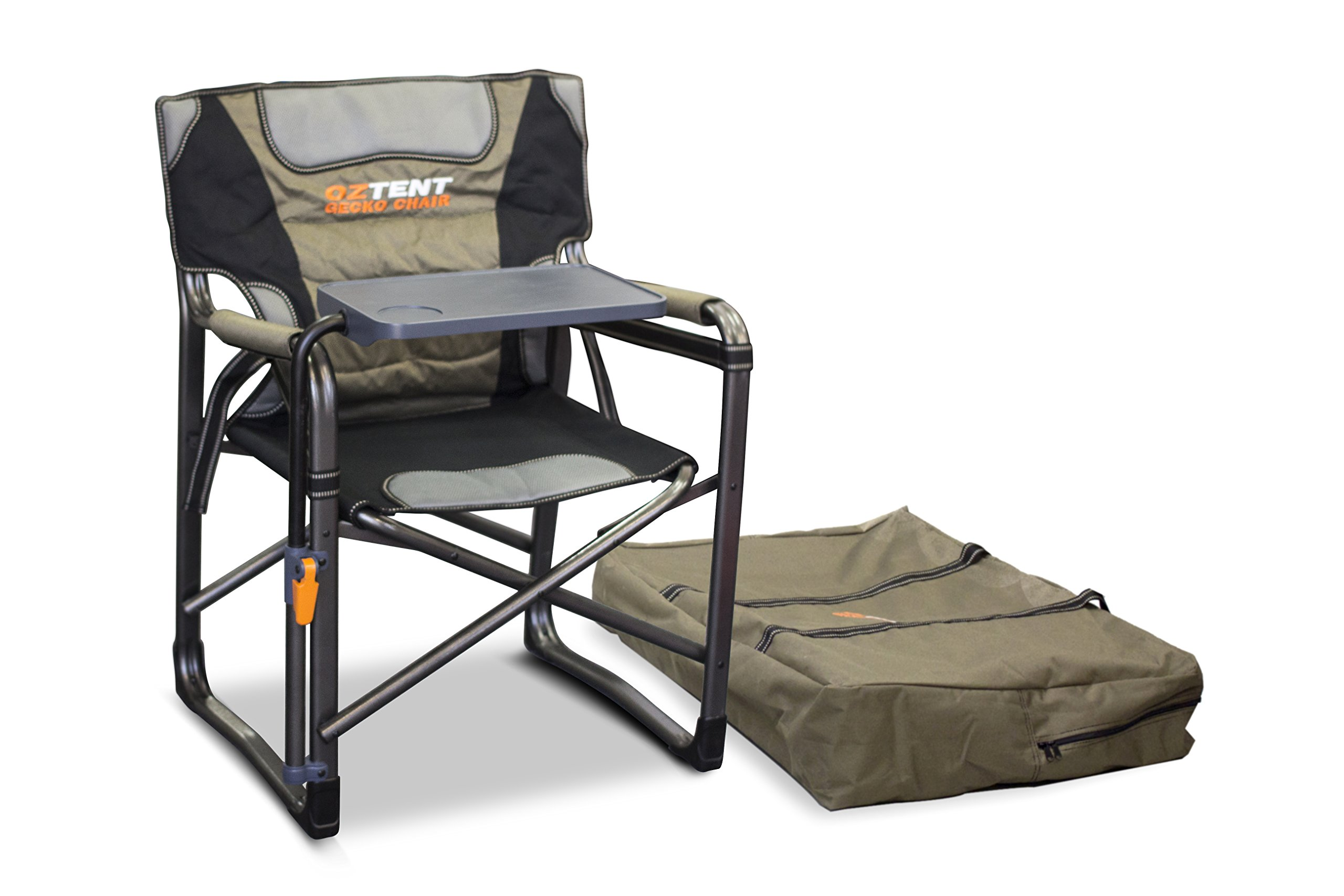 OzTent Gecko Camping Chair with Lumbar Support and Swivel Table