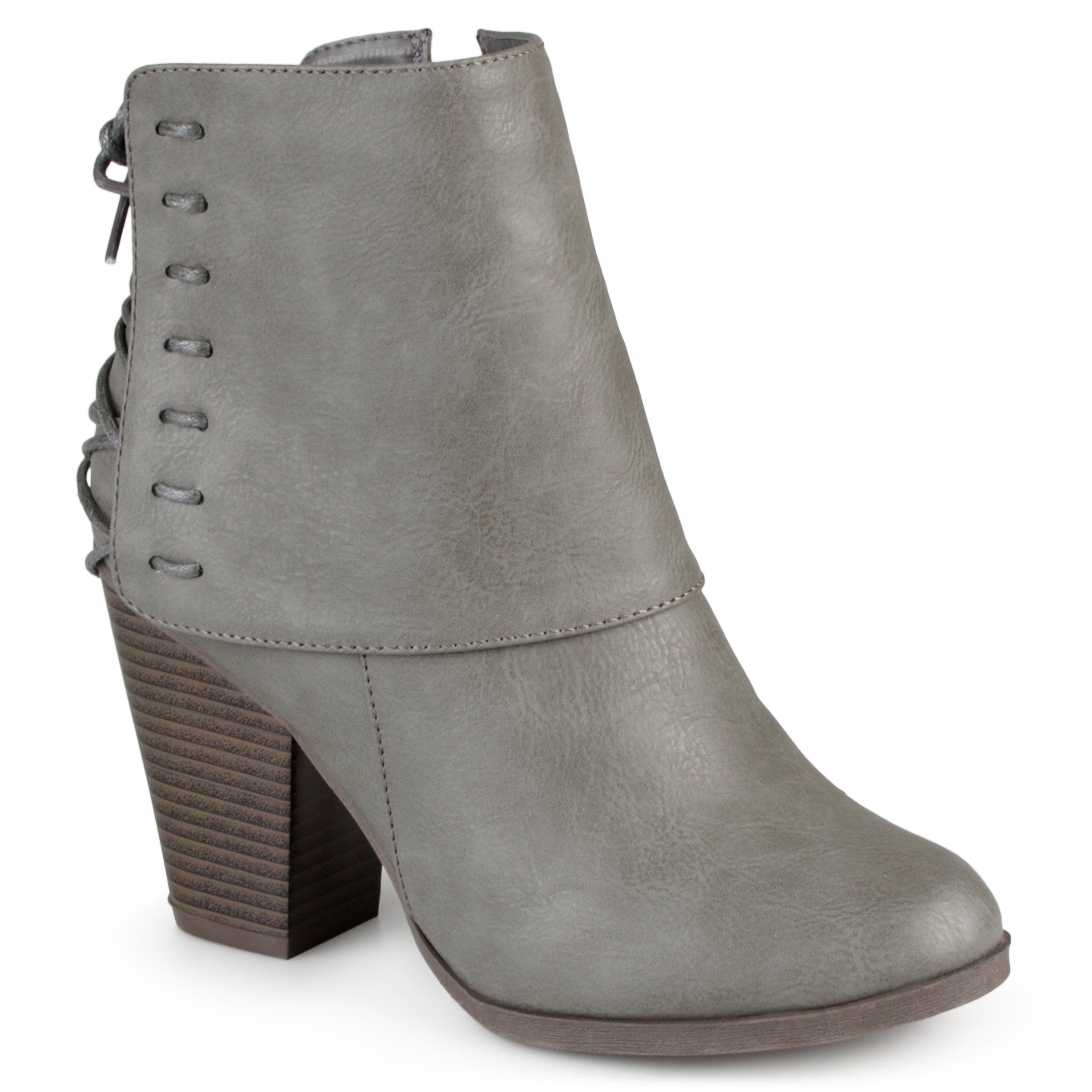 Journee Collection Womens High Heel Corset Lace Chunky Heel Ankle Boots Grey, 7.5 Regular US