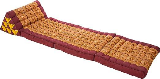 colore ocra e rosso onice 170x50 cm traspirante e stabile con imbottitura in kapok Materasso in design orientale e stile tailandese originale Handelsturm pieghevole con cuscino triangolare