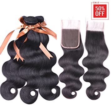 Allrun Hair 7A Brazilian Body Wave 3 Bundles with Free Part Lace Closure  100% Unprocessed Human Hair