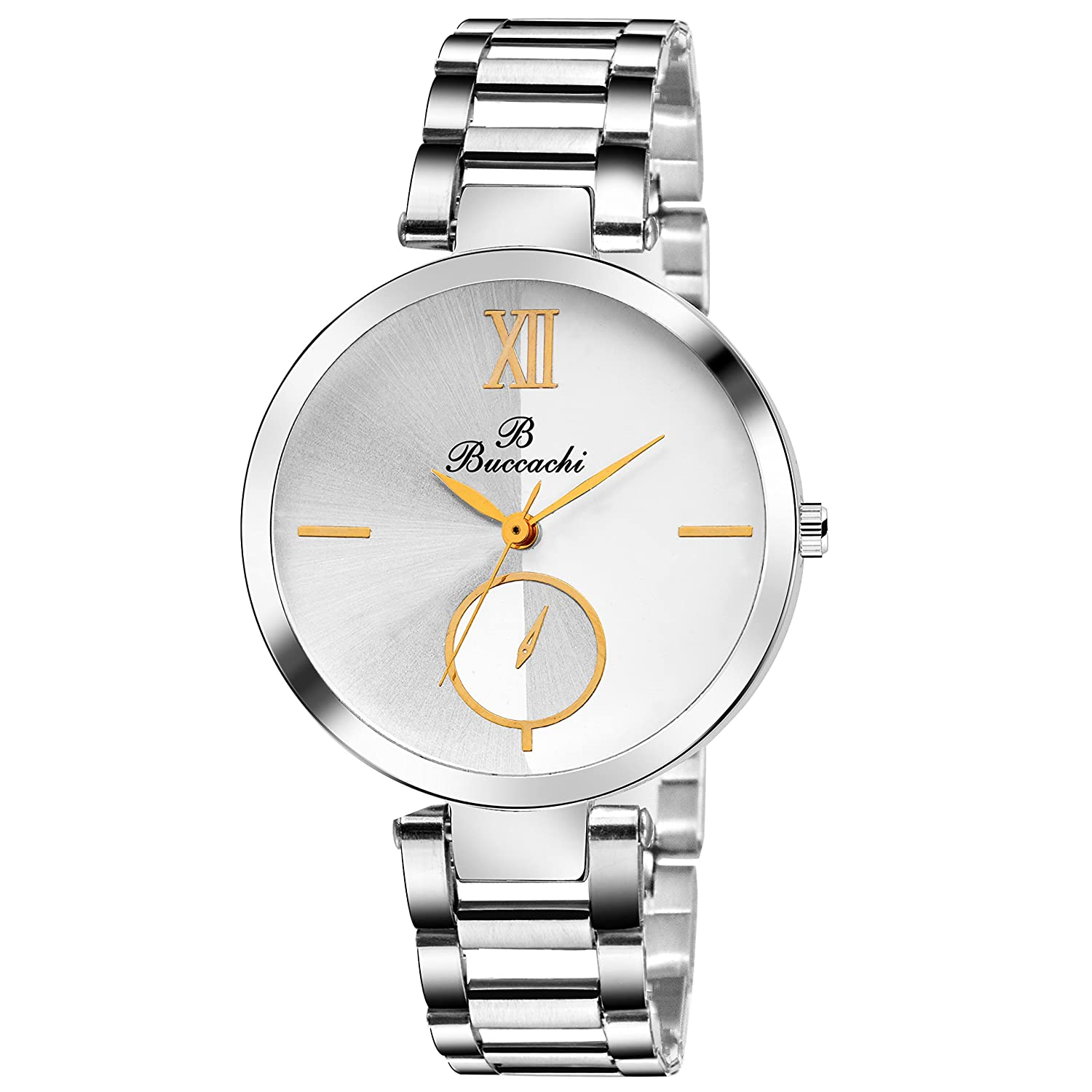 Buccachi Analouge White Dial Watches Water Resistant Silver Color Strap Watches for Women/Ladies/Girls B-L1044-WT-CH