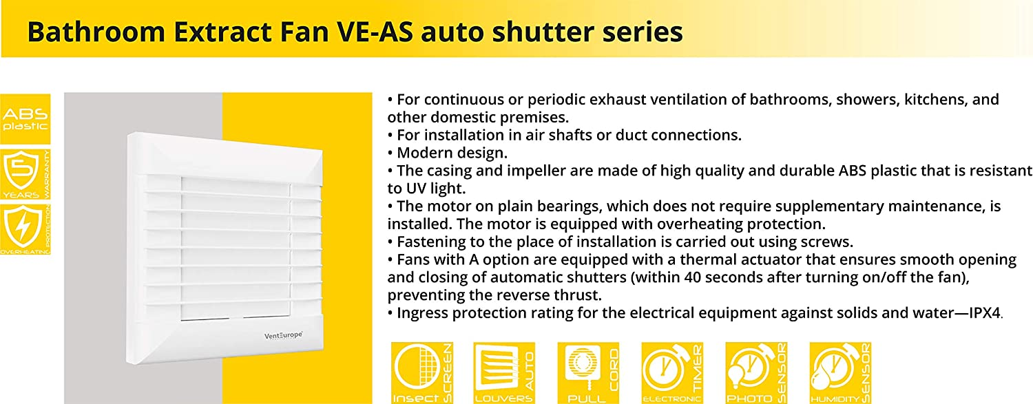 VENTEUROPE,Extractor Fan with Automatic Shutter 4/'/'//100 mm for Bathroom,Kitchen,Office,Toilet 97 m3//h 5 Years Warranty