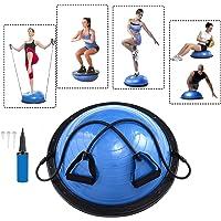Baumarktplus Yoga Gymnastik Balance Half Ball blau Trainingsball Fitnessball ø 60cm Balance Trainer mit Zugbändern und Pumpe, beidseitig nutzbar