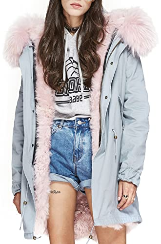 S.ROMZA Mujer Parka Gran piel de mapache Abrigos con capucha de largo Prendas de abrigo Real Lamb Li...