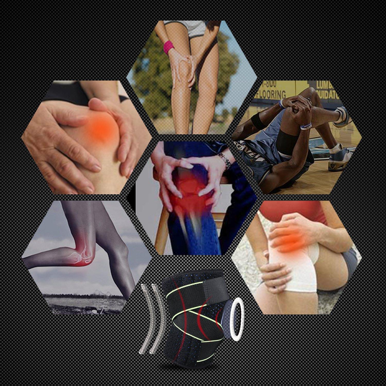 Tutore per Ginocchio Supporto Neoprene Ginocchiera Regolabile, Offre sollievo in caso di peritendite rotulea, stiramenti, distorsioni e dolori artritici , traspirante e confortevole per sport,Unisex