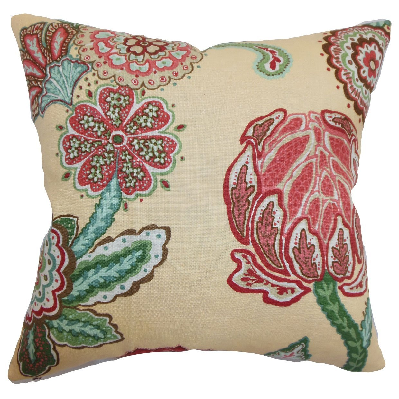 The Pillow Collection Samarinda Floral Bedding Sham Canary European//26 x 26