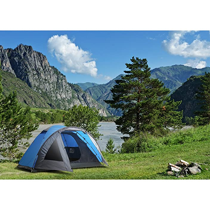 SEMOO D-Shape Door, 3-4 Person, 4-Season Lightweight Family Camping Tent with Carry Bag