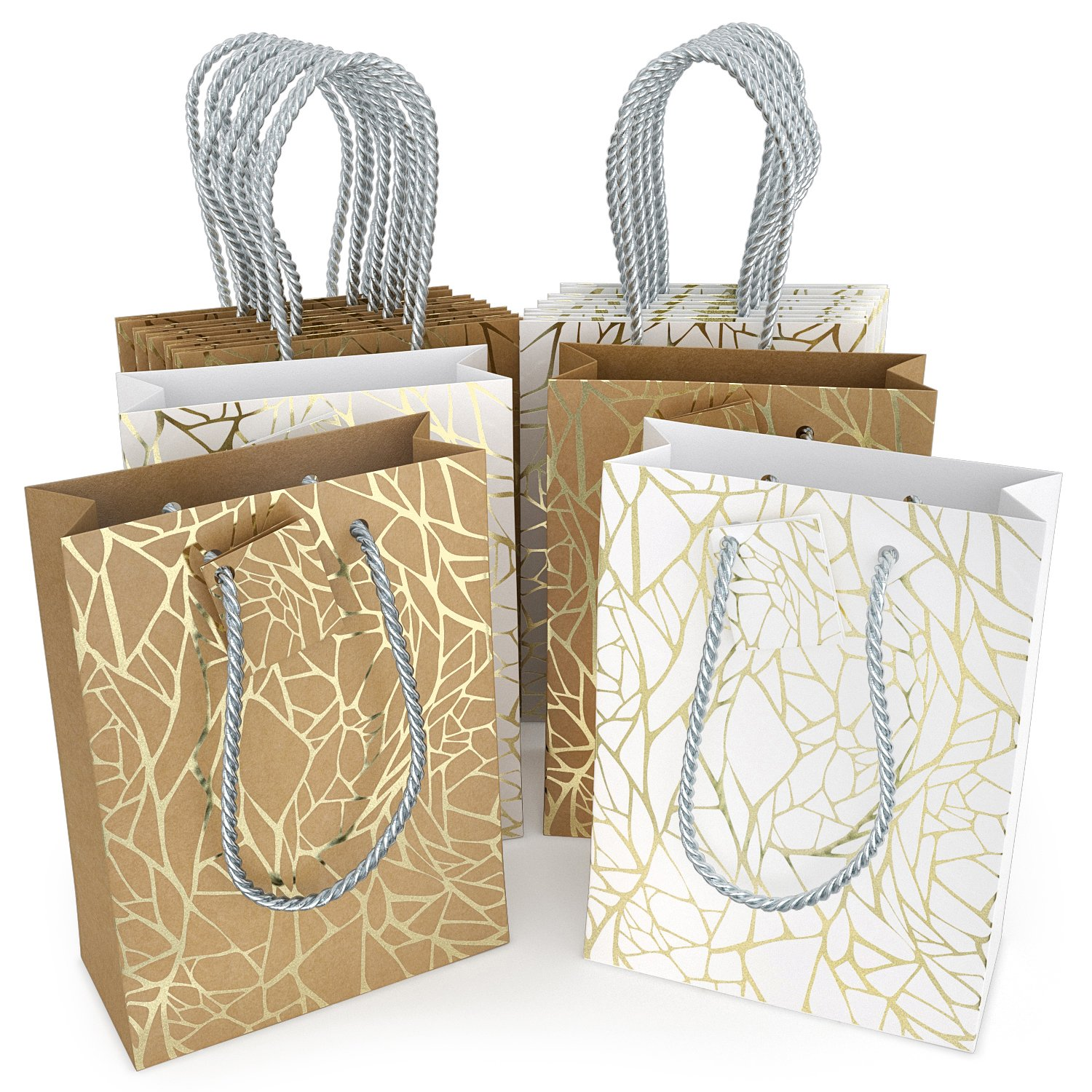 Glogex Gift Bags, Kraft Paper Gifts Bag for Birthday, Weddings Presents (Set of 14 Bags, 2 Crack Designs)