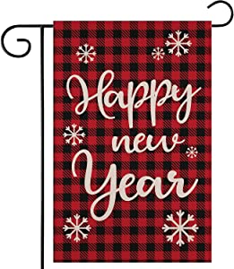 ZYP Happy New Year Burlap Garden Flag, Double Sided 12.5 x18.5 Inch Decorative Red Plaid New Year Christmas Winter Garden Yard Banner Flag Lawn Outdoor Decoration