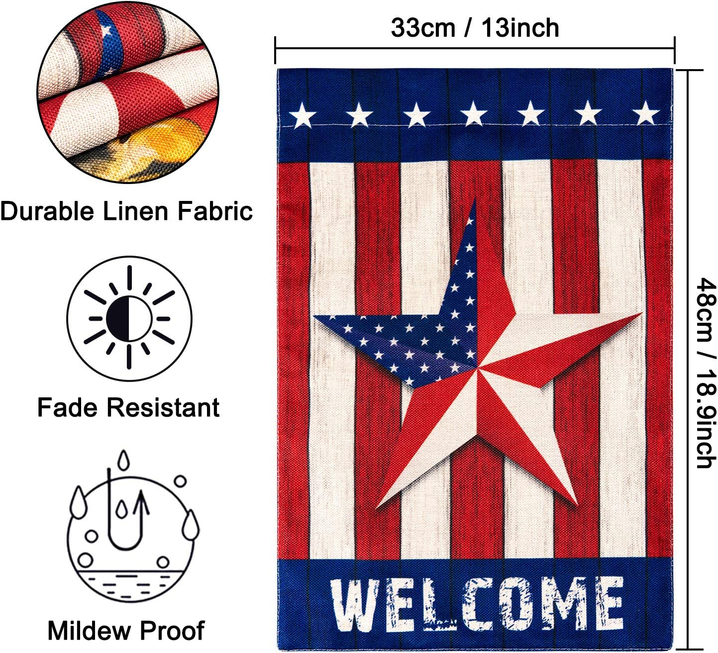 Amazon Com Whaline Patriotic Garden Flag American Stripe And Star Yard Flag Double Sided Burlap Outdoor Flag With Windproof Clip For 4th Of July Indepedence Day Memorial Day Home Farmhouse 13 X 18